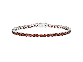 Red Garnet Rhodium Over Sterling Silver Tennis Bracelet 12.00ctw.