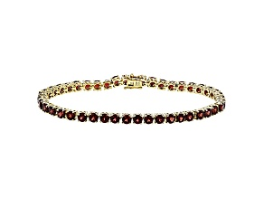 Red Garnet 18K Yellow Gold Over Sterling Silver Tennis Bracelet 14.52ctw