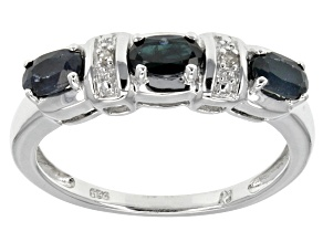 Blue Sapphire Rhodium Over Sterling Silver Ring .66ctw
