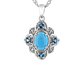 Blue Turquoise Rhodium Over Silver Pendant With Chain 0.31ctw