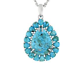 Blue Turquoise Rhodium Over Sterling Silver Enhancer With Chain