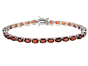 Red Labradorite Rhodium Over Sterling Silver Tennis Bracelet 10.24ctw