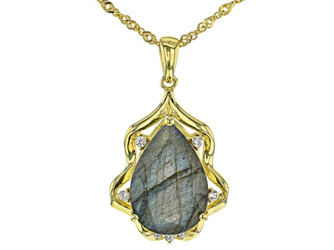 Gray Labradorite 18k Yellow Gold Over Silver Pendant with chain 6.30ctw