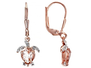 Morganite 18K Rose Gold Over Sterling Silver Turtle Earrings 1.27ctw