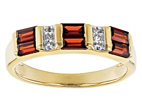 Vermelho Garnet 18K Yellow Gold over Sterling Silver Band Ring 0.81ctw