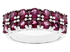 Round Raspberry Color Rhodolite Rhodium Over Sterling Silver Band Ring 3.25ctw