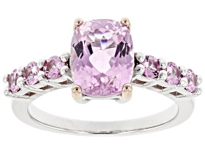 Pink Kunzite Rhodium Over Sterling Silver Ring 2.70ctw