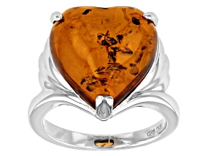 Heart-Shaped Cabochon Amber Rhodium Over Sterling Silver Solitaire Ring
