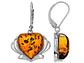 Orange Amber Rhodium Over Sterling Silver Solitaire Earrings