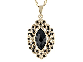 Black Spinel 18k Gold Over Sterling Silver Pendant With Chain 2.93ctw