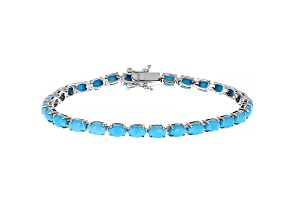 Blue Turquoise Rhodium Over Sterling Silver Tennis Bracelet