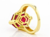Red Lab Created Ruby 18K Yellow Gold Over Sterling Silver Solitaire Ring 7.65ct