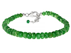 Green Emerald Rhodium Over Sterling Silver Beaded Bracelet Approximately 28.00ctw