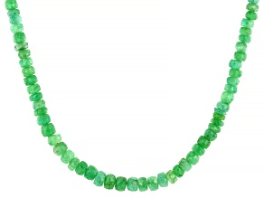 Green Emerald 18K Yellow Gold Over Sterling Silver Beaded Graduated Necklace