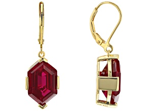 Red Lab Created Ruby 18k Yellow Gold Over Sterling Silver Dangle Earrings 15.30ctw