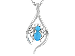 Oval and Round Sleeping Beauty Turquoise Rhodium Over Sterling Silver Pendant With Chain