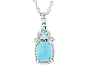 Blue Sleeping Beauty Turquoise Rhodium Over Sterling Silver Pendant With Chain 0.29ctw