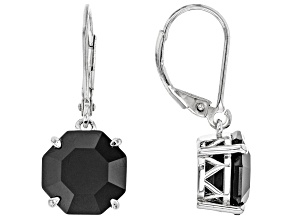 Black Spinel Rhodium Over Sterling Silver Dangle Earrings 8.90ctw