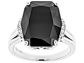 Black Spinel Rhodium Over Sterling Silver Ring 8.99ctw