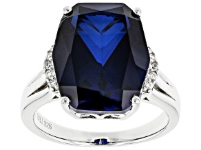Lab Created Blue Sapphire Rhodium Over Silver Ring 9.54ctw