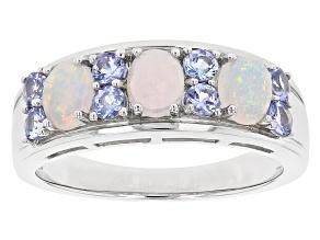 Multicolor Ethiopian Rhodium Over Silver Band Ring .95ctw