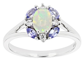 Multicolor Ethiopian Opal Rhodium Over Silver Ring .51ctw