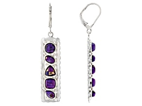 Mixed Shape Purple Turquoise Rhodium Over Sterling Silver Earrings