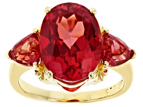 Orange Lab Created Padparadscha Sapphire 18k Yellow Gold Over Silver 3-stone Ring 6.77ctw