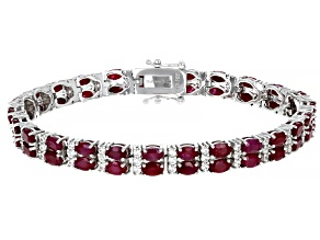 Red  Ruby Rhodium Over Sterling Silver Bracelet 17.69ctw