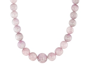 Pink Kunzite Rhodium Over Sterling Silver Graduated Beaded Necklace