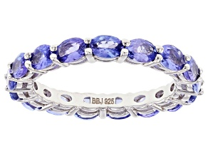 Oval Tanzanite Rhodium Over Sterling Silver Eternity Band Ring 2.75ctw