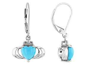 Sleeping Beauty Turquoise Rhodium Over Silver Lever back Claddagh Earrings