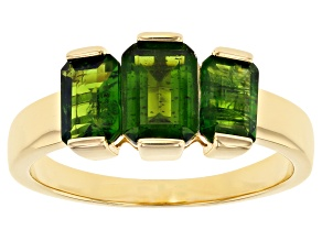 Green Russian Chrome Diopside 18K Yellow Gold Over Sterling Silver 3-stone Ring 2.17ctw