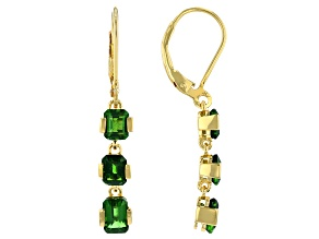 Green Chrome Diopside 18k Yellow Gold Over Sterling Silver 3-Stone Earrings 2.98ctw