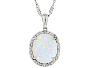 Multicolor Lab Created Opal Rhodium Over Silver Pendant With Chain 0.17ctw