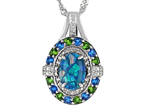 Multi Color Opal Triplet Rhodium Over Silver Pendant With Chain 1.34ctw