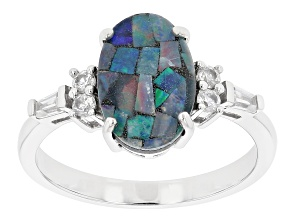 Multi Color Australiian Opal Triplet Rhodium Over Sterling Silver Ring 0.39ctw