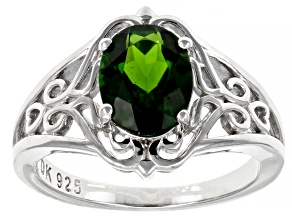 Green Chrome Diopside Rhodium Over Silver Solitaire Ring 1.63ct