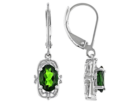 Green Chrome Diopside Rhodium Over Sterling Silver Dangle Earrings 1.36ctw