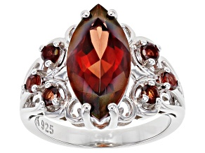 Red Labradorite Rhodium Over Sterling Silver Ring 3.26ctw