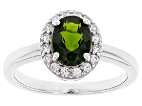 Chrome Diopside Rhodium Over Silver Ring 1.79ctw
