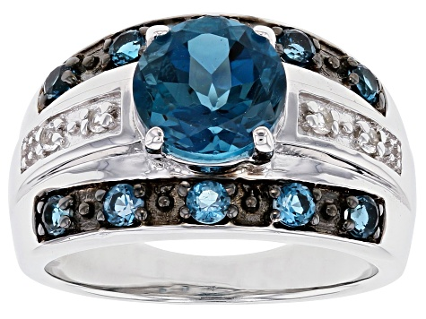 Blue Topaz Rhodium Over Sterling Silver Ring 2.58ctw