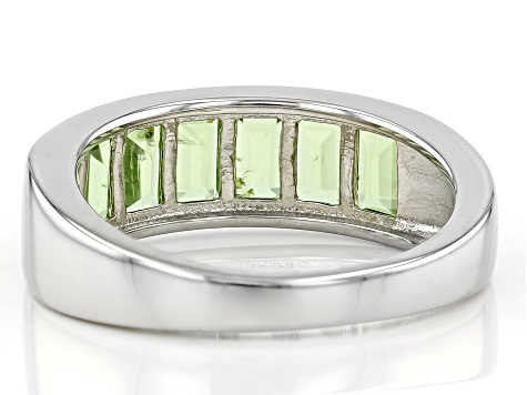 Green Peridot Rhodium Over Sterling Silver Band Ring 1.78ctw