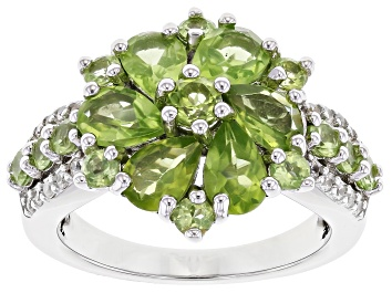 Picture of Green Peridot Rhodium Over Sterling Silver Ring 3.56ctw
