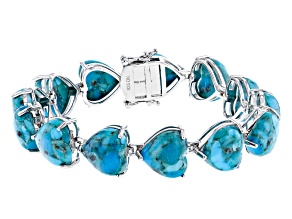 Blue Turquoise Rhodium Over Sterling Silver Bracelet 12mm