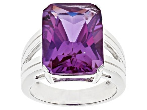 Purple Color Change Sapphire Rhodium Over Sterling Silver Solitaire Ring 12.07ct