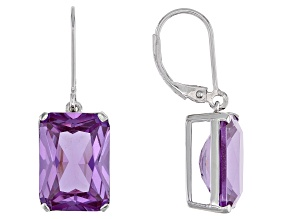 Lab Created Purple Color Change Sapphire Rhodium Over Silver Dangle Earrings 17.77ctw