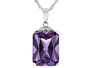 Lab Created Purple Color Change Sapphire Rhodium Over Silver Pendant With Chain 12.07ct