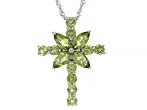 Green Peridot Rhodium Over Silver Cross Pendant With chain 2.93ctw