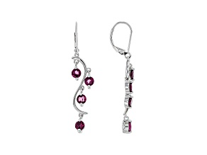 Purple Rhodolite Rhodium Over Sterling Silver Dangle Earrings 2.24ctw